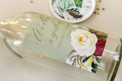 Ślubne Etykiety samoprzylepne na butelki weselne w stylu boho z burgundowymi piwoniami
