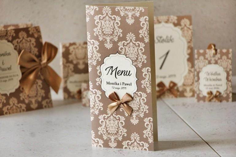 Menu weselne, stół weselny - Ornament nr 6 - Papier perłowy z kokardką, delikatny brąz z ornamentami