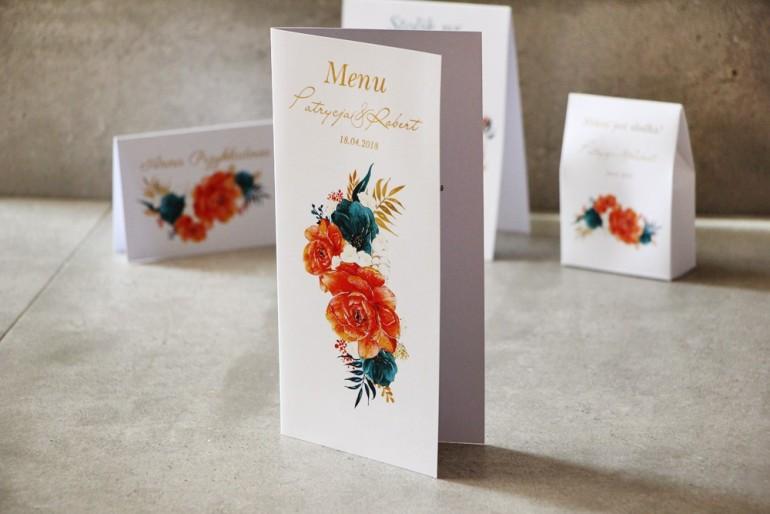 Menu weselne, stół weselny - Cykade nr 6 ze złoceniem - Intensywnie pomarańczowe i szmaragdowe kwiaty