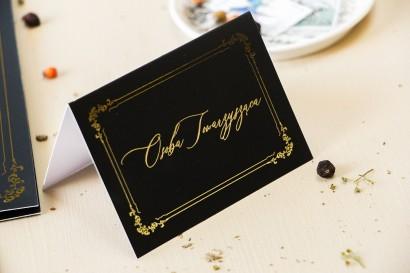 Czarne Winietki Ślubne w stylu glamour ze złotym tekstem oraz złotą ramką - Amelia-Wedding.pl