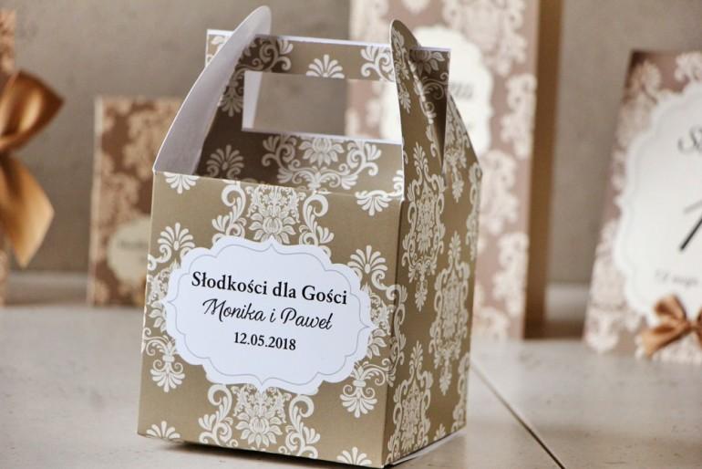 Pudełko na ciasto kwadratowe, tort weselny - Ornament nr 6 - Delikatny brąz