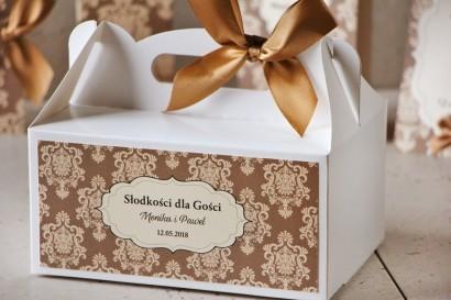 Prostokątne pudełko na ciasto, tort weselny, ślub - Ornament nr 6 - brązowe z ornamentami