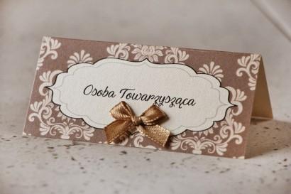 Winietki na stół weselny, ślub - Ornament nr 6 - Brązowo-kremowe, perłowe z kokardką