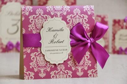 Zaproszenie ślubne perłowe z kokardką- Ornament nr 7 - Elegancki intensywny fiolet na papierze kremowym