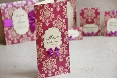 Menu weselne, stół weselny - Ornament nr 7 - Papier perłowy z kokardką, intensywny fiolet z ornamentami