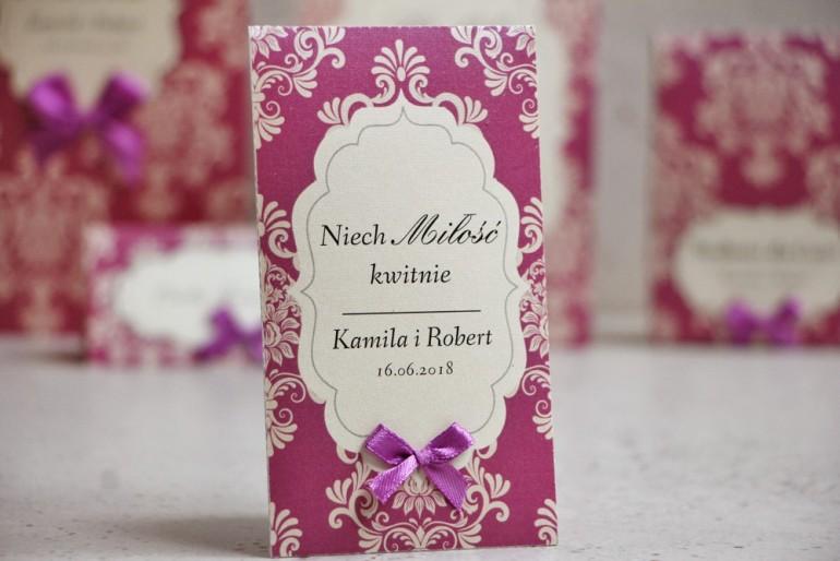 Podziękowania dla Gości weselnych - nasiona Niezapominajki - Ornament nr 7 - Fioletowe z ornamentami i kokardką, papier perłowy