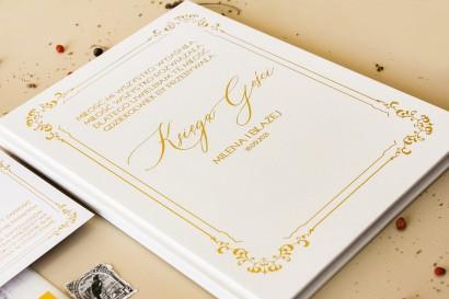 Weselna Księga Gości ślubne w białym kolorze ze złoceniami