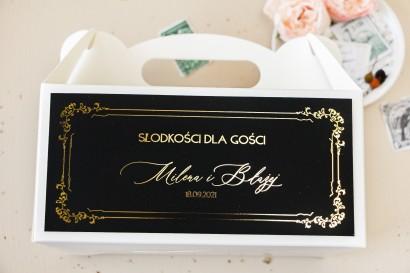Czarne Pudełko na Ciasto weselne (prostokątne) w stylu glamour ze złotym tekstem oraz złotą ramką