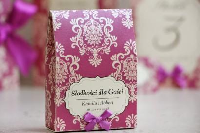 Pudełeczko stojące na cukierki, podziękowania dla Gości weselnych - Ornament nr 7 - Fioletowe z ornamentami, papier perłowy
