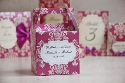 Pudełko na ciasto kwadratowe, tort weselny - Ornament nr 7 - Intensywny fiolet z ornamentami