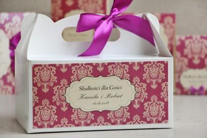 Prostokątne pudełko na ciasto, tort weselny, ślub - Ornament nr 7 - Fioletowe z kokardką
