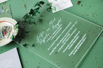 Próbne zaproszenie ślubne na szkle z kolekcji Soft nr 2