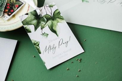 Zawieszki na butelki weselne z bluszczem w stylu greenery