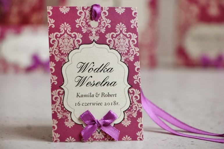 Zawieszka na butelkę, wódka weselna, ślub - Ornament nr 7 - Fioletowo-kremowe dodatki weselne, eleganckie, papier perłowy