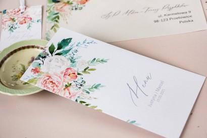 Menu ślubne na stół weselny z piwonią zainspirowane kwiatowym motywem