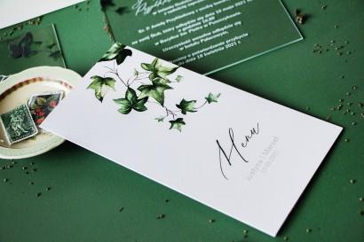Menu ślubne na stół weselny z bluszczem w stylu greenery
