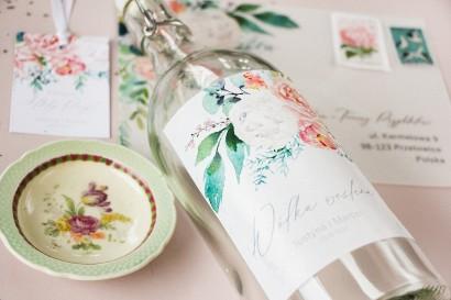 Ślubne Etykiety samoprzylepne na butelki z piwonią zainspirowane kwiatowym motywem