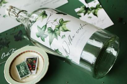 Ślubne Etykiety samoprzylepne na butelki z bluszczem w stylu greenery