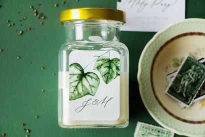 Świeczki ślubne - Podziękowania dla gości weselnych, etykieta z bluszczem w stylu greenery