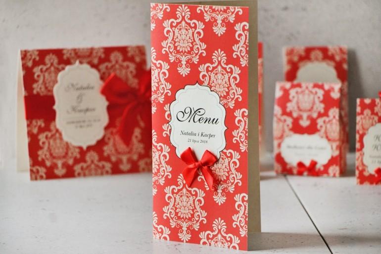 Menu weselne, stół weselny - Ornament nr 8 - Papier perłowy z kokardką, klasyczna czerwień, czerwone