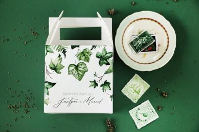 Ślubne Pudełko na Ciasto weselne z bluszczem w stylu greenery