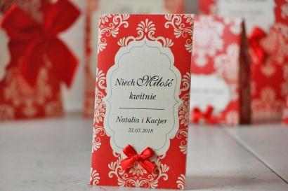 Podziękowania dla Gości weselnych - nasiona Niezapominajki - Ornament nr 8 - Czerwone z  ornamentami i kokardką