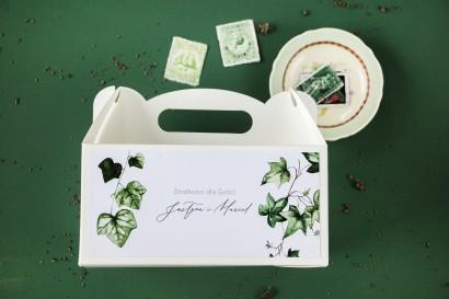 Ślubne Pudełko na Ciasto (prostokątne) z bluszczem w stylu greenery