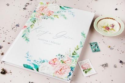 Ślubna Księga Gości z piwonią zainspirowane kwiatowym motywem