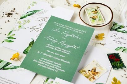 Botaniczne zaproszenia ślubne w eleganckim etui. Zaproszenia w stylu vintage z roślinną grafiką i złoceniem na etui