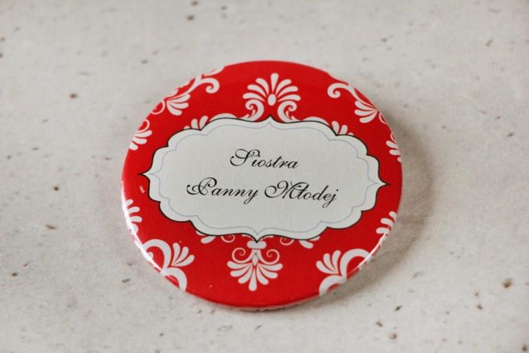 Przypinki dla Gości weselnych, dodatki na wesele, przypinka Ornament nr 8 - Czerwone  z ornamentami, eleganckie dodatki