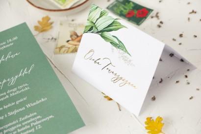Botaniczne Winietki Ślubne w stylu vintage z roślinną grafiką i złoceniem