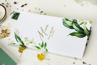 Botaniczne Menu Ślubne w stylu vintage z roślinną grafiką i złoceniem
