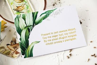 Botaniczny Bilecik do zaproszeń ślubnych w stylu vintage z roślinną grafiką i złoceniem
