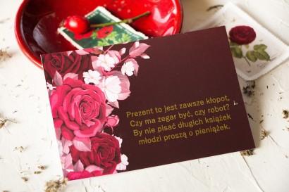 Burgundowy Bilecik do zaproszeń ślubnych ze złoceniami i kwiatowym motywem