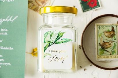 Świeczki - podziękowania dla gości weselnych. Botaniczna etykietya w stylu vintage z roślinną grafiką i złoceniem