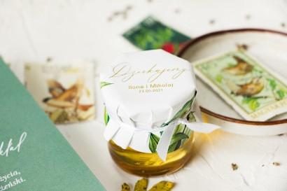 Słoiczek z miodem - słodkie podziękowanie dla gości weselnych. Botaniczny kapturek w stylu vintage