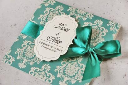 Zaproszenie ślubne perłowe z kokardką- Ornament nr 9 - Szmaragdowe z eleganckimi ornamentami