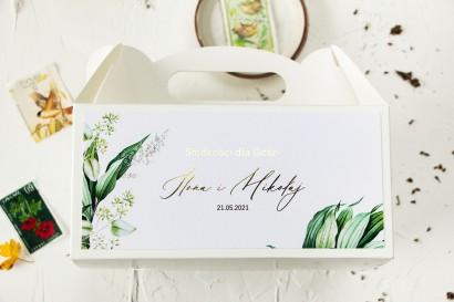 Botaniczne pudełko na ciasto weselne (prostokątne) ze złoceniami w stylu vintage z roślinną grafiką