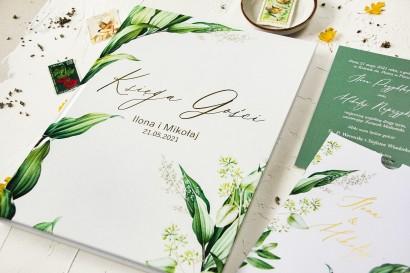 Botaniczna Ślubna Księga Gości w stylu vintage z roślinną grafiką i złoceniem
