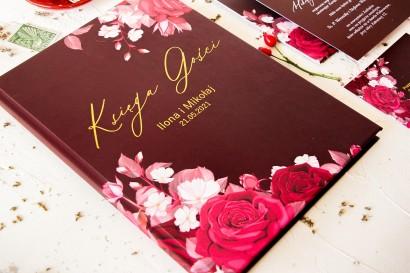 Burgundowa Ślubna Księga Gości ze złoceniami i kwiatowym motywem