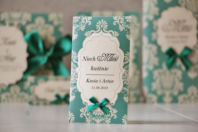 Podziękowania dla Gości weselnych - nasiona Niezapominajki - Ornament nr 9 - Szmaragdowe z ornamentami i kokardką