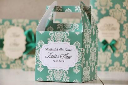 Pudełko na ciasto kwadratowe, tort weselny - Ornament nr 9 - Szmaragdowe z ornamentami