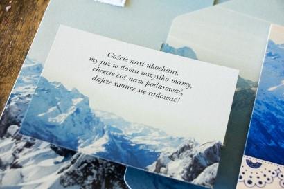 Bilecik do zaproszeń ślubnych z motywem gór. Bilciki na górskie wesele i dla miłośników górskich widoków