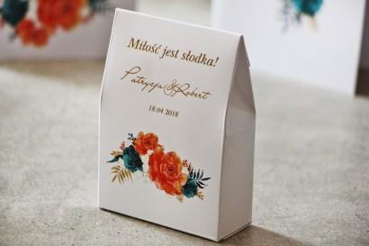 Pudełeczko na cukierki, podziękowania dla Gości weselnych - Cykade nr 6 ze złoceniem - Pomarańczowe kwiaty