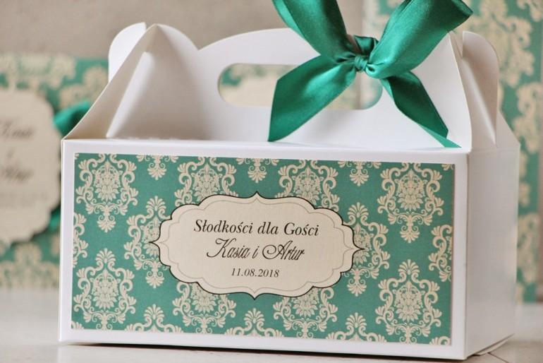 Prostokątne pudełko na ciasto, tort weselny, ślub - Ornament nr 9 - Szmaragdowe z ornamentami i kokardą