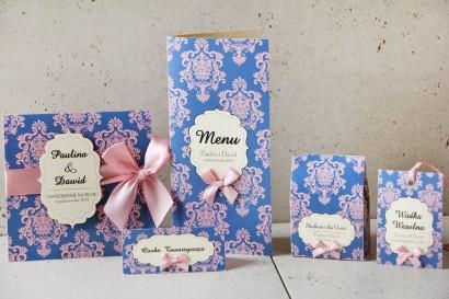 Zaproszenie ślubne z dodatkami - Ornament nr 10 - Kontrastujący róż z niebieskim tłem, eleganckie z ornamentami