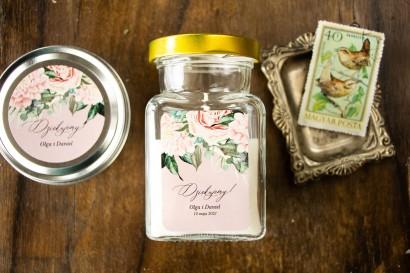 Świeczki Ślubne - Podziękowania dla gości Weselnych. Etykieta w stylu boho utrzymana w pastelowej, różowej barwie