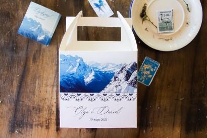 Kwadratowe Pudełko na Ciasto weselne z motywem gór. Pudełka na górskie wesele