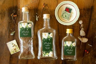 Ślubne Butelki na nalewki - Podziękowania dla Gości. Etykieta w kolorze butelkowej zieleni