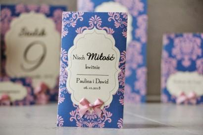 Podziękowania dla Gości weselnych - nasiona Niezapominajki - Ornament nr 10 - Różowo-chabrowe z kokardką